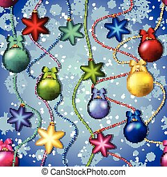 New year pattern with Christmas tree toys. Ball and star. Beads garland