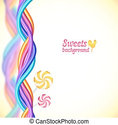 Round candy rainbow colors sweets background - Round candy...