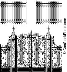 Gate and Fence - Wrought iron gate and fences full of...