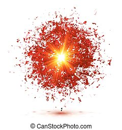 Red explosion isolated on white background - Red vector...