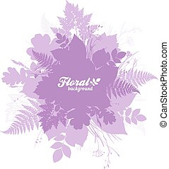 Pink isolated foliage silhouettes trendy banner