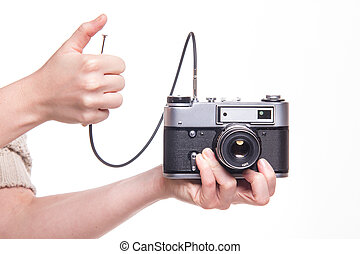 Analog camera with cable release and hand