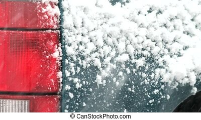 Snow sticking to truck in snowstorm - Video of heavy snow...