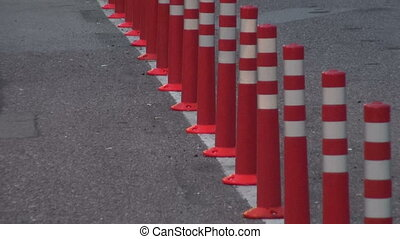 road traffic cone on asphalt - many road traffic cone on...