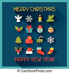 Merry Christmas and Happy New Year invitation card