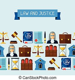 Law icons seamless pattern in flat design style.