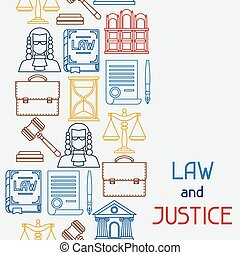 Law and justice icons seamless pattern in flat design style