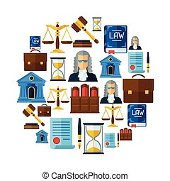 Law icons background in flat design style