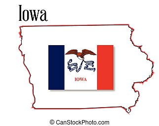Iowa State Map and Flag