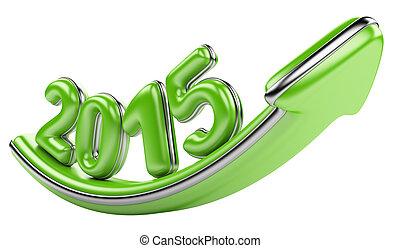 3D arrow with year 2015 growth upward - 3D arrow with year...