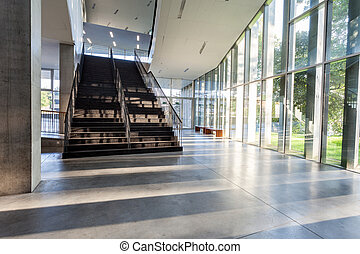 corridor - an long corridor in large building with stairs...