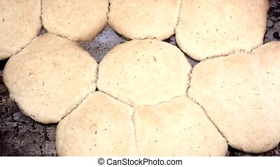 Home cooked sugar cookies on pan - Close video of homemade...