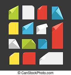 Collection of color blank paper sheets with bending corners. Fla