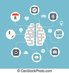 Color interface icons and the brain