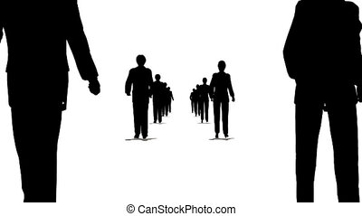 many business couple walking looping moving camera silhouette