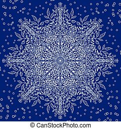 floral lace snowflake with winter motiv