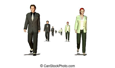 many business couple walking looping