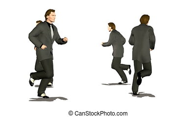 four businessman runnig by circle