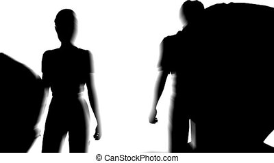 family making house silhouette