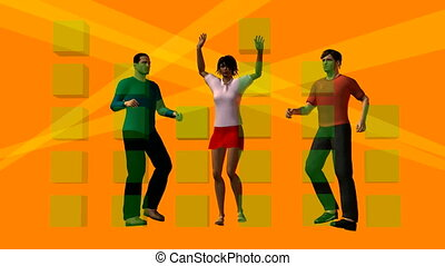 Three dancing persons