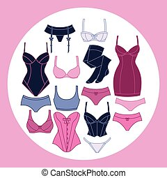 Fashion lingerie background design with female underwear