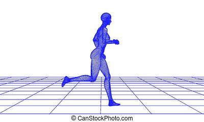 wire woman running loop