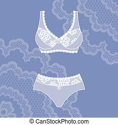 Fashion female lingerie with vintage lace ornament