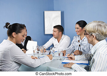 Group of people having fun at business meeting - Group of...