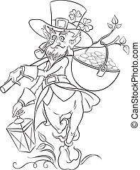 Leprechaun. Saint Patrick Day - Vector illustration outlined