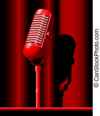 retro microphone - red microphone