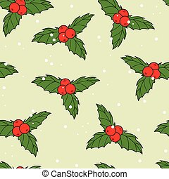 Christmas seamless pattern with ilex berries and leaves -...