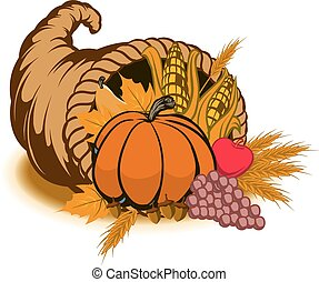 Cornucopia - Fall season cornucopia with vegetables and...