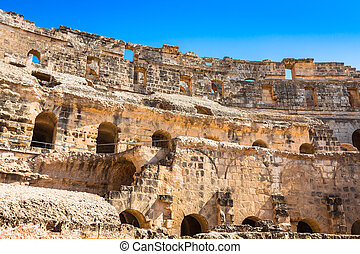 Ruins of the largest colosseum in in North Africa El...
