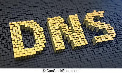 DNS cubics - Acronym 'DNS' of the yellow square pixels on a...