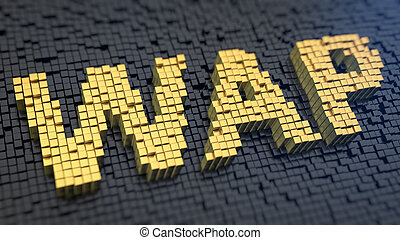 WAP cubics - Acronym 'WAP' of the yellow square pixels on a...