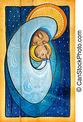 Madonna and infant Jesus painted on a wood
