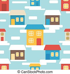 Flat seamless pattern with houses