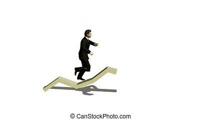 businessman runs under diagramme upwards