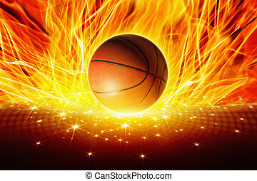 Burning basketball - Sports background - burning basketball...