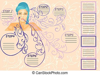 beauty infographic. young woman and abstract decoration