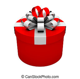 Red gift box holiday present illustration on white...
