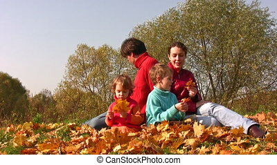 family of four sit in autumn leaves - The family of four sit...