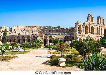 Tunisia. El Jem (ancient Thysdrus). Ruins of the largest...