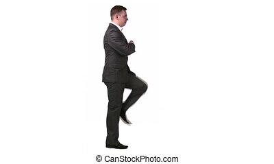 businessman march profile - Businessman march in profile.