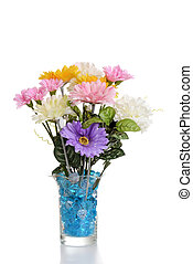 faux flower arrangement in vase - isolated faux flower...
