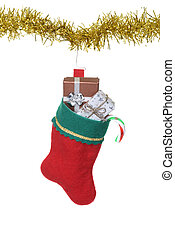 filled christmas stocking hanging on gold garland
