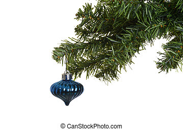 old blue ornament on chistmas tree - isolated old blue...
