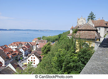 Meersburd at lake Bodensee - View over Meersburg and the...