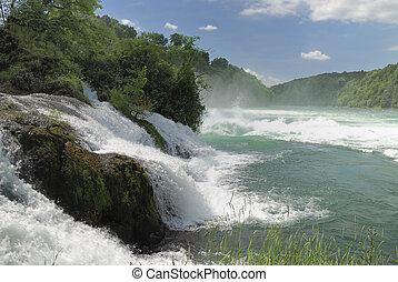 Rhine Falls (Rheinfall) at Schaffhausen in Switzerland....