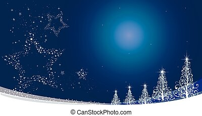 christmas star - Winter blue background. Festive blue...